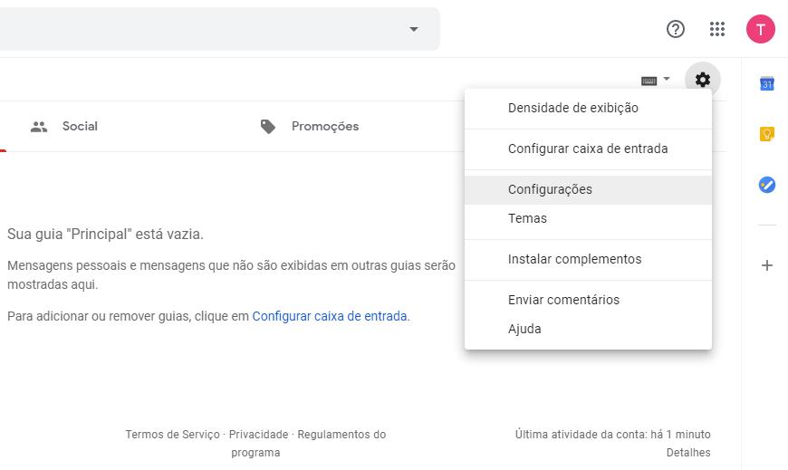 Configurações no Gmail